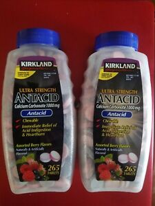 2 PACK KIRKLAND ANTACID ASSORTED BERRY 265 TABLETS ULTRA STRENGHT 1000MG