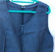 Gerry Weber Sleeveless Shirt/Blouse Linen Denim Blue Button Up Front Pintucks