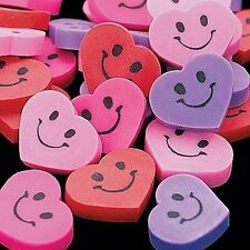 Pack of 48 - Mini Smiley Heart Erasers Rubbers - Teacher School Supplies