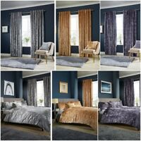 Crushed Velvet Luxurious Duvet Cover Sets / Matching Curtains / Cushion Covers