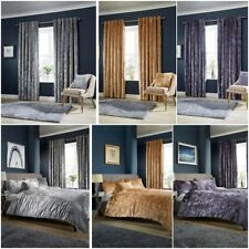 Luxury Crushed Velvet Duvet Cover Sets / Matching Curtains / Cushion Covers LW