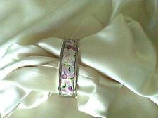 Vera Bradley Pink, Purple, White, & Silver Tone Floral Bangle Bracelet