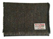 Harris Tweed Pure Wool Luxury Scarf Red, Blue Tartan, or Grey, Brown Herringbone