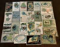 Lot of~25~FLOWERS~Blue~FORGET-ME-NOTS~Antique greeting~Postcards-in Sleeves-b333