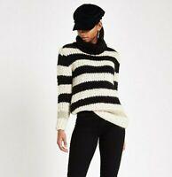River Island Womens Wool Knit Blend Roll Neck Sweater Jumper Black Cream RRP £42