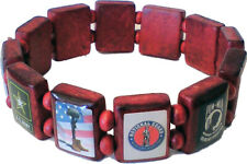 Patriotic Military Wooden Tile Bracelet - FREE Shipping!