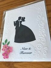 Wedding Card First Dance Embossed. All White Pink Flowers Handmade