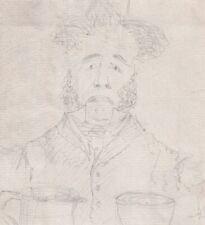 Antique portrait gentleman ale jug & glass pencil drawing cartoon 19th century