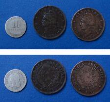 ARGENTINA 3 MONETE DOS CENTAVOS 1890 E 1891 E 10 CENTAVOS 1898