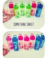 Kids/childs Personalised Water Bottle With Flip Straw . No Leaks