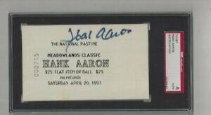 Atlanta Braves Hank Aaron  autographed show ticket SGC  Encapsulated  #715