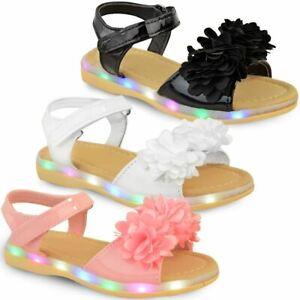 Girls Kids Childrens LED Light Up Flashing Sandals Party Shoes Cushion Sole UK