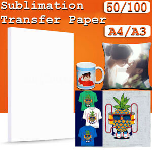 50/100 sheets A3/A4 Heat Sublimation Transfer Paper For Mug Cup Plate T-Shirt