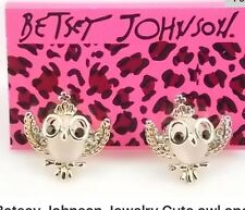 Betsey Johnson Owl SMART OWL GOLD  Earrings Crystals Adorable