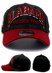 Alabama Crimson Tide New Era 39Thirty Arch Black Red Flex Fit Fitted Hat Cap S/M