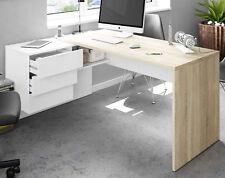 Escritorio rincon con buck 2 cajones color roble y blanco 73x146x102 cm