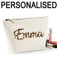 Personalised Name Women's Make Up Bag Wedding Mum Birthday Gift Leopard Print