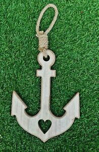 Hanging Nautical Wooden Wall Decoration Anchor Shape