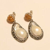 Natural Fresh Water Pearl Earrings 925 Sterling Silver Marcasite Fashion Jewelry