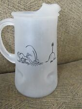 1972 Bc Comics Frosted Glass Pitcher Johnny Hart Zot Anteater Marathon Oil Promo