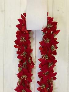 Artificial Poinsettia Garland - 6ft Christmas Flower Decoration