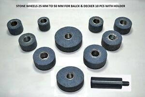 STONE WHEELS 25 MM TO 50 MM FOR BLACK & DECKER 10 PCS WITH HOLDER