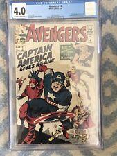 Avengers #4 CGC 4.0 VINTAGE Marvel Comic KEY 1st Silver Age Captain America 12c