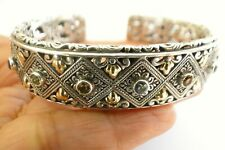 Multi-Gemstone Amethyst Peridot 18K Gold Accent Sterling Silver Cuff Bracelet