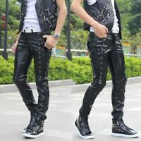 Mens Punk Zipper Motorcycle PU Leather Pants Skinny Slim Lace Up Casual Trousers