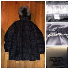 EDDIE BAUER Black Women's Goose Down Long Coat Size XXL