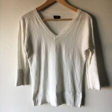 Talbots Vintage P Sweater Petites Pima Cotton 3/4 Rib Cuff V Neck Top Pullover