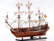 "San Felipe Spanish Armada Galleon Tall Ship Open Hull 37""Built Wooden Model Boat"