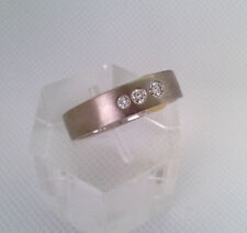 Ring bicolor 750/18 kt Gelbgold/Weißgold -3 Diamanten 0,22 ct - 8,3gr.  Gr. 50