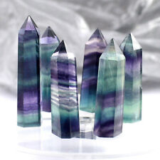 5PCS Rare Natural Rock Fluorite Quartz Crystal Stone Point Healing Wand Obelisk