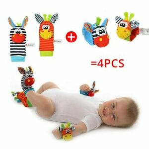 4 piece Rattles Soft Plush Toys Foot Wrist Rattle Set Cartoon Newborn Toys Gift