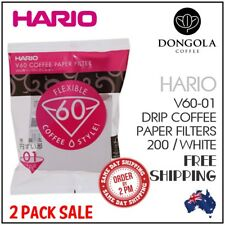 2 PACK HARIO V60-01 100 White Paper Filters Coffee Dripper Pour Over Cone Brewer