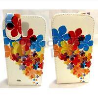 Custodia Per Samsung Galaxy S4 Fiore Multi Colore Similpelle Flip Telefono Cover