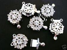 5 Bead Silver Clasp Crystal Rhinestone Bail Finding/opening/beading/craft K82