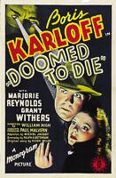 Doomed to Die (1940) Boris Karloff Horror movie poster print