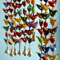 Fair Trade 20-Bird Bell Tota Traditional Indian Hanging Decoration, Recycled