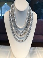 Signed Premier designs Necklace Silver Wt. Pearl Glass Crystal 5 strand beaded
