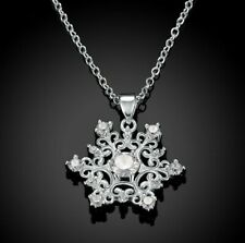 18K White Gold Plated 1/10ct Crystal Snowflake Necklace
