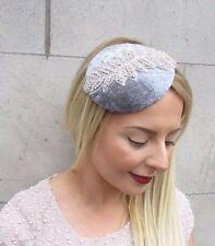 Grey Silver Velvet Pillbox Hat Fascinator Hair Vintage Races Clip Cocktail 2682