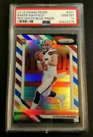 BAKER MAYFIELD 2018 PANINI PRIZM #201 RED WHITE BLUE REFRACTOR ROOKIE RC PSA 10