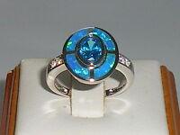 Damen Art Deco Sterling 925 feste Silber Opal Saphir & Aquamarin Ziel Ring