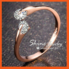 18K ROSE GOLD FILLED SIMULATED DIAMOND SOLID OPEN LITTLE FINGER TOE RING JEWELRY