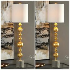 "TWO SELIM BUFFET MODERN GOLD MID CENTURY INSPIRED XXL 40"" TABLE LAMPS UTTERMOST"