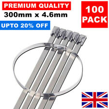 100 x 300MM X 4.6MM STAINLESS STEEL METAL CABLE TIES WRAP HEAT EXHAUST ZIP TIE