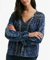 Lucky Brand Womens Sz S White Blue Printed Floral Peasant Boho Top Long Sleeve