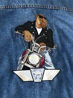 Men's Rare Vintage Joe Camel Blue Jean Biker Embroidered Jacket Size Large EUC
